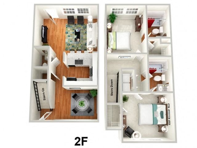 2 Bed 2.5 Bath Floor Plan at Sundance Creek Apartments, McDonough, GA