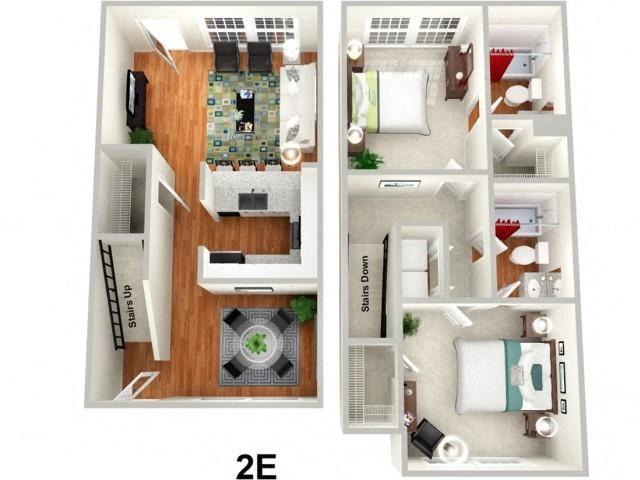 2 Bed 2 Bath Floor Plan at Sundance Creek Apartments, McDonough, 30253
