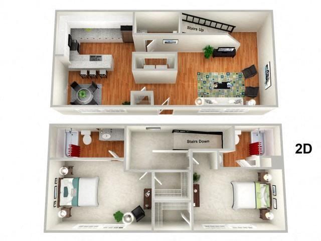 LOTUS 2 Bedroom 2.5 Bathroom Floor Plan at Sundance Creek Apartments, McDonough, Georgia