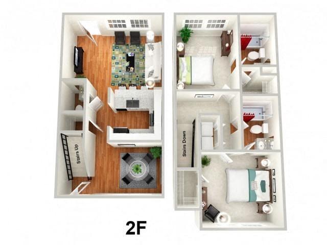 2 Bedroom 2.5 Bathroom Floor Plan at Sundance Creek Apartments, Georgia, 30253