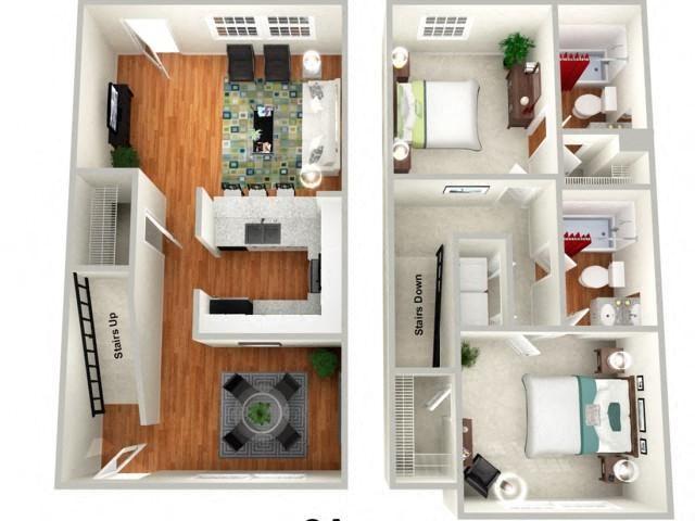 Violet 2 Bed 2 Bath Floor Plan at Sundance Creek Apartments, McDonough, GA, 30253