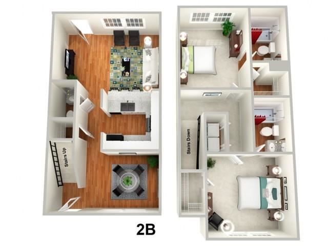 TULIP 2 bedroom 2.5 bath Floor Plan at Sundance Creek Apartments, McDonough, GA