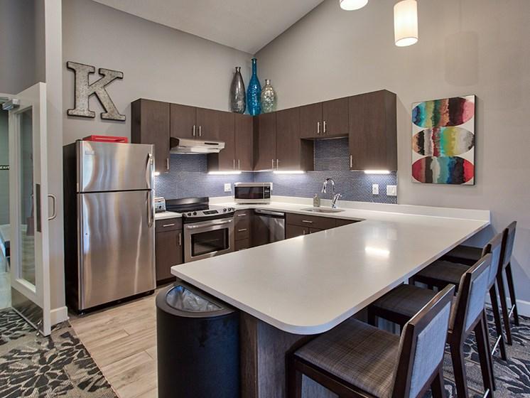 Clubhouse Kitchen at The Kane at Gray's Landing apartments, Aliquippa 15001