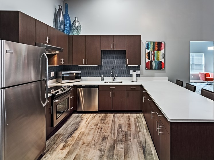 Upgraded Clubhouse Kitchen at The Kane at Gray's Landing apartments, PA