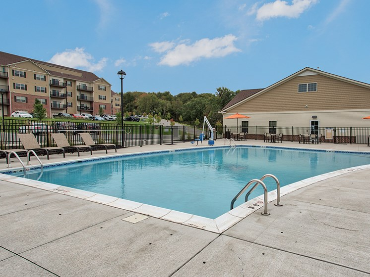 Outdoor Pool at The Kane at Gray's Landing apartments, Aliquippa 15001