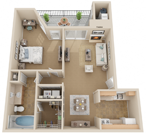 1Bed 1Bath Floor Plan Layout at Madison at Wells Branch, Austin, TX