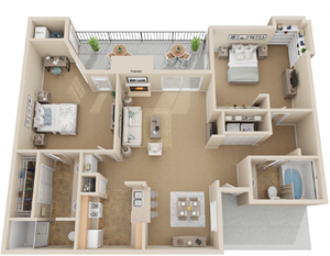2Bed 2Bath Floor Plan Layout at Madison at Wells Branch, Austin, 78727