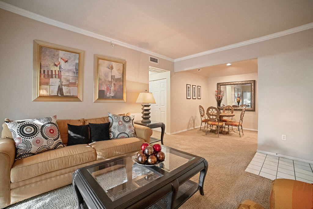 Living Room With Dining Area at Madison at Wells Branch, Austin, TX, 78727