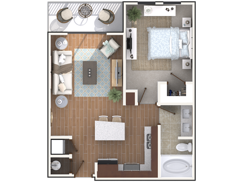 1 bedroom 1 bath architecture drawing of A1A floor plan