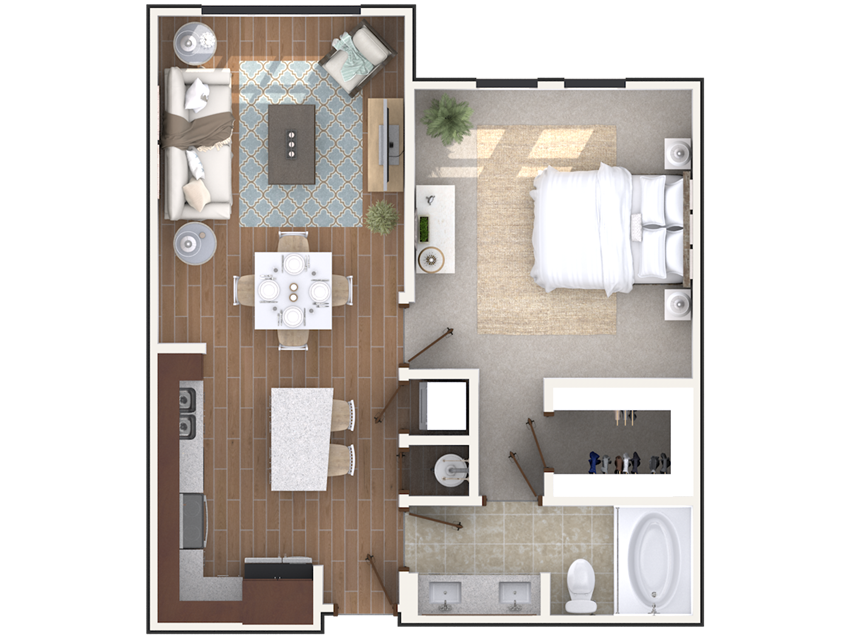 1 bedroom 1 bath architecture drawing of A1B floor plan