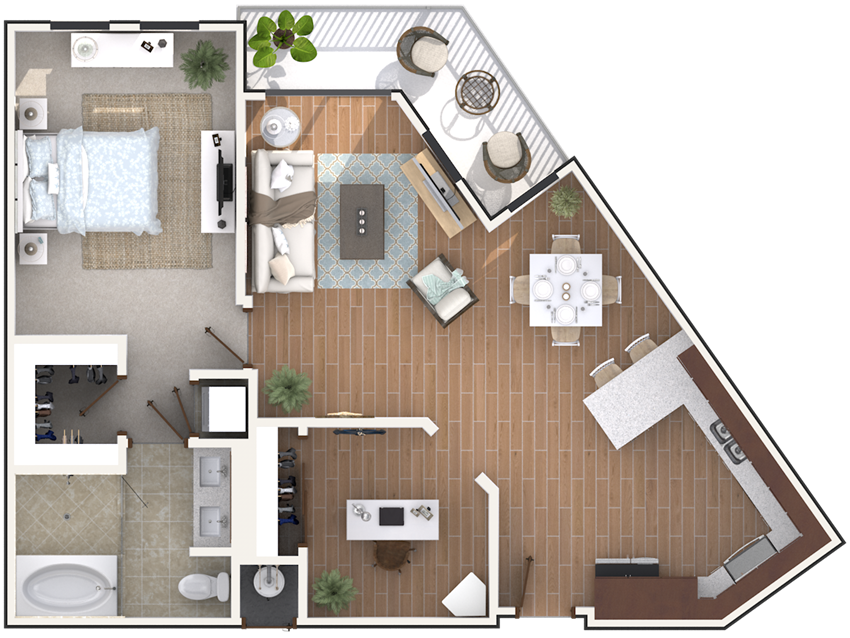 1 bedroom 1 bath architecture drawing of A1C floor plan