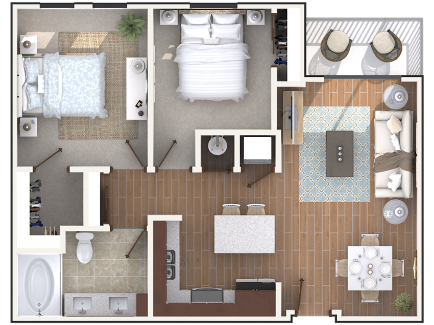 2 bedroom 2 bath architecture drawing of B1A floor plan