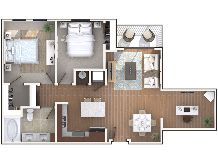 2 bedroom 1 bath architecture drawing of B1B floor plan