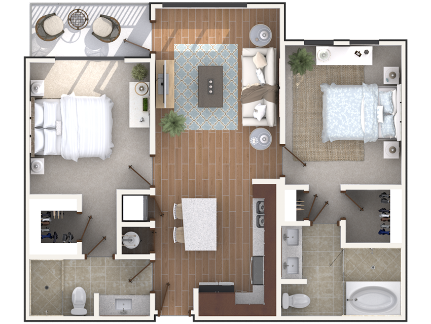 2 bedroom 2 bath architecture drawing of B2A floor plan