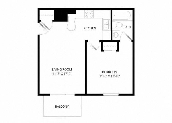 0 for the One bedroom floor plan.