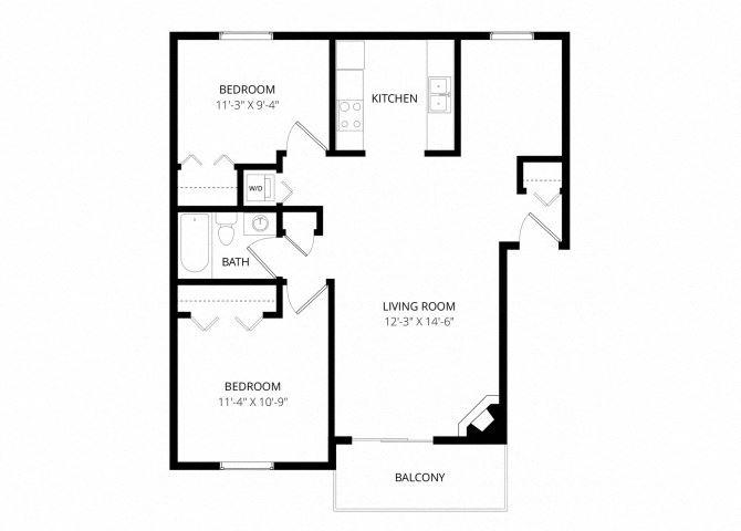 0 for the 2 Bedroom Townhome floor plan.