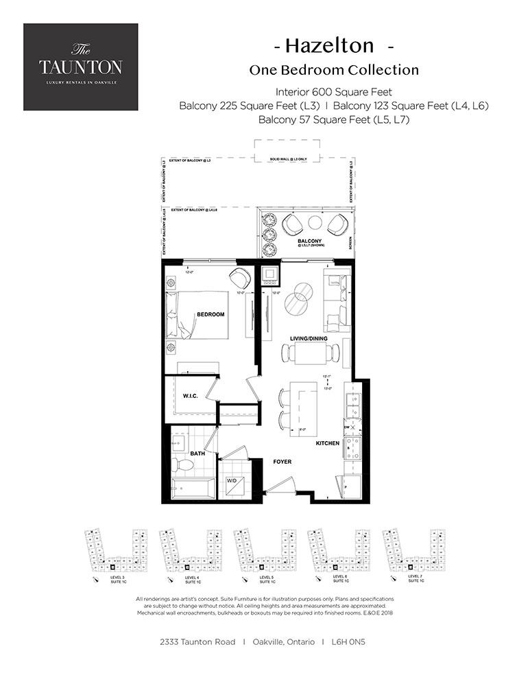 One bedroom, one bathroom apartment layout at The Taunton in Oakville, ON