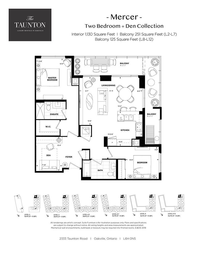 Two bedroom plus den, two bathroom apartment layout at The Taunton in Oakville, ON