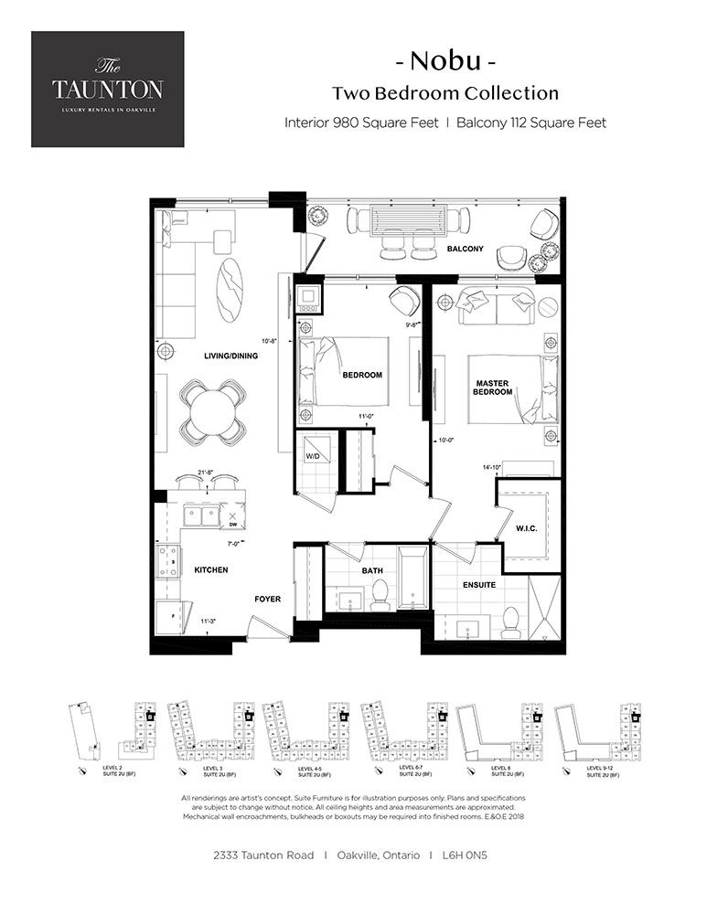 Two bedroom, two bathroom apartment layout at The Taunton in Oakville, ON