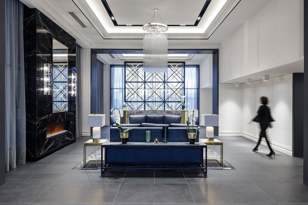 The Taunton Apartments modern and luxurious lobby in Oakville, ON