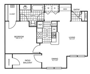 Park at Rolling Hills Apartments | The Traveler Floor Plan