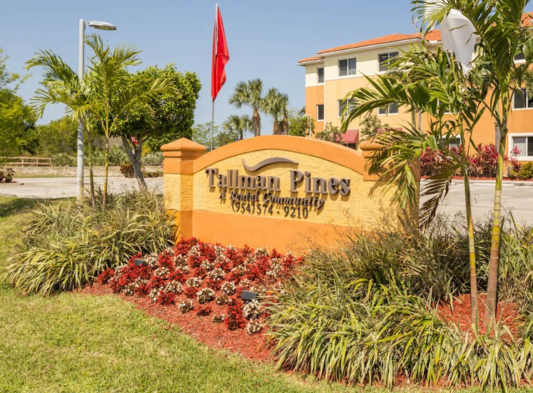 welcome signage at Tallman Pines Apartments