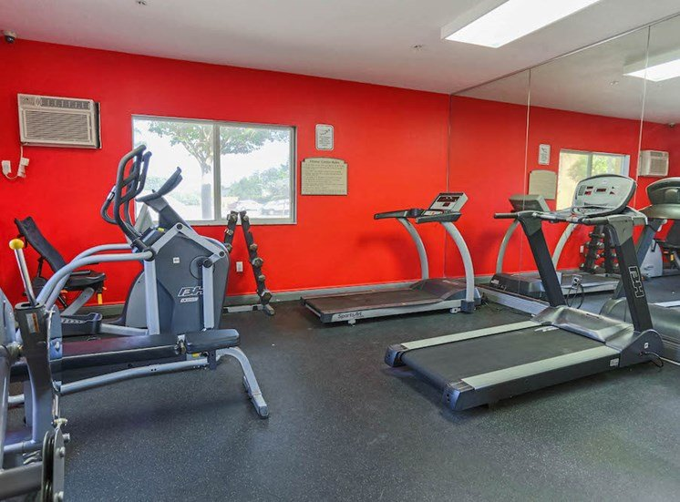 fully-equipped fitness center with cardio and strength equipment