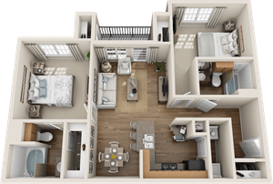 Providence at Prairie Oaks| B1 Floor Plan 2  bedroom 2 bath