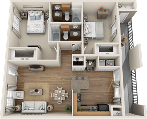 Providence at Prairie Oaks| B2 Floor Plan 2  bedroom 2 bath