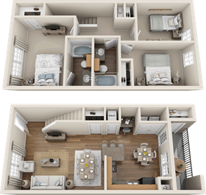 Providence at Prairie Oaks| C3  Townhouse Floor Plan 3 bedroom 2 bath