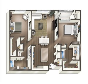 Vive on the Park Two Bed Two Bath D Floor Plan San Diego, California