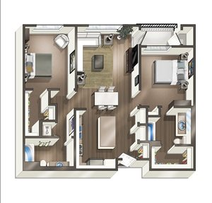 Vive on the Park Two Bed Two Bath E Floor Plan San Diego, California