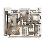 Vive on the Park Two Bed Two Bath Floor Plan San Diego, California