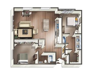 Vive on the Park Two Bed Two Bath N Floor Plan San Diego, California