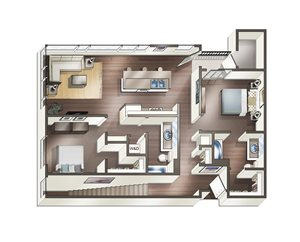 Vive on the Park Two Bed Two Bath O Floor Plan San Diego, California
