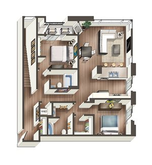 Vive on the Park Two Bed Two Bath P Floor Plan San Diego, California