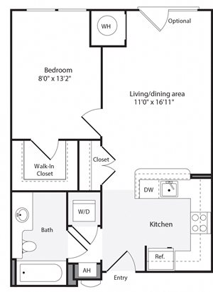 1A Floorplan at The Flats at Wheaton Station Apartments