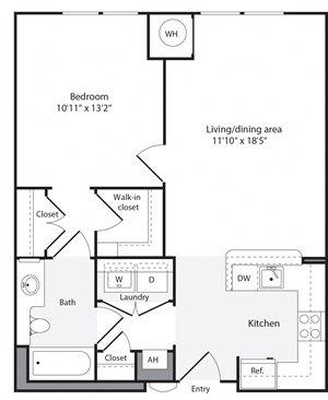 1E Floorplan at The Flats at Wheaton Station Apartments