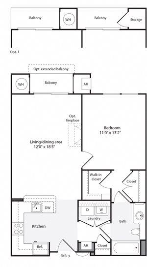 1G/1H Floorplan at The Flats at Wheaton Station Apartments