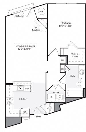 1J Floorplan at The Flats at Wheaton Station Apartments