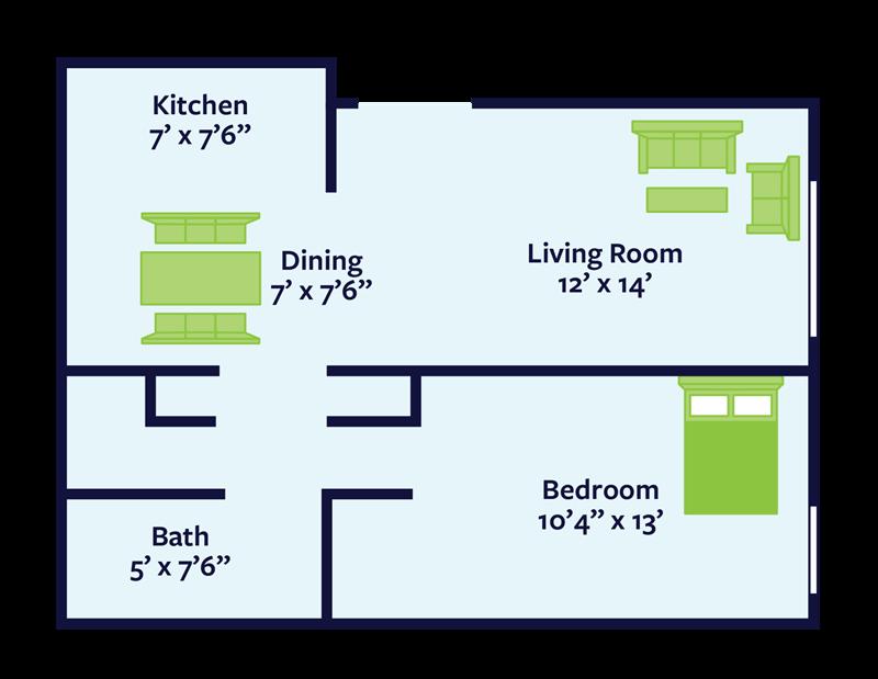 1 bed 1 bath apartment floor plan