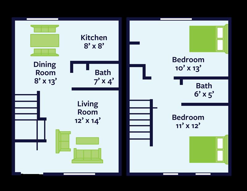 2 bed townhome floor plan