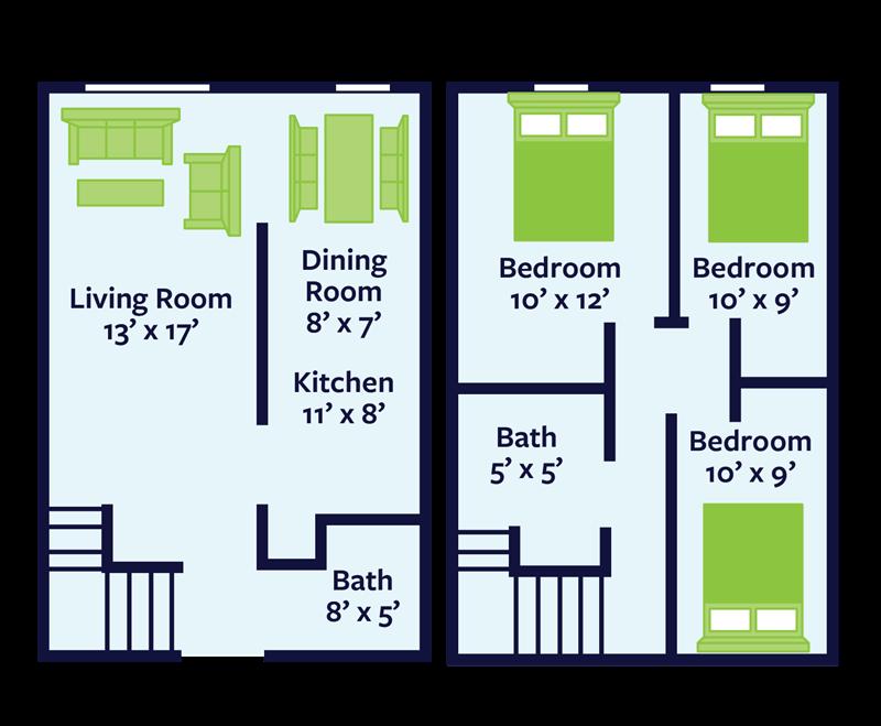 three bedroom townhome for rent floor plan