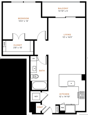 One bedroom, one bathroom, one walk-in closet, laundry room, hvac room, pantry, living room, kitchen A2P floor plan, 790 square feet.