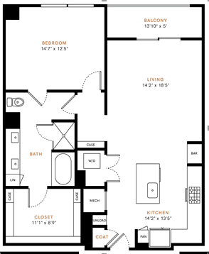 One bedroom, one bathroom, one walk-in closet, laundry room, hvac room, pantry, living room, kitchen A6H floor plan, 1036 square feet.