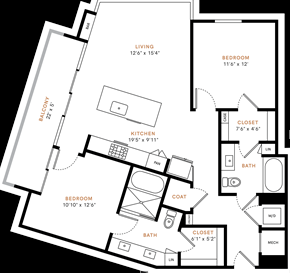 Two bedroom, two bath, kitchen, pantry, coat closet, living/dining room, two walk-in closets, linen closet and laundry room. 1150 square feet B1P floor plan.