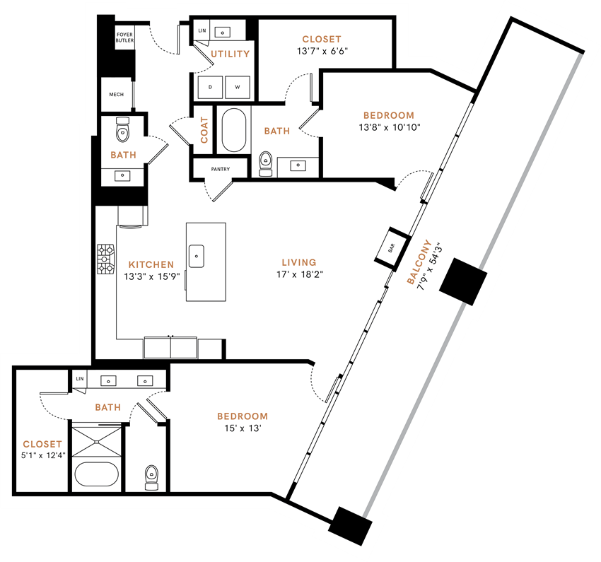 Two bedroom one bathroom, Penthouse,  kitchen, kitchen pantry, living room, dining room, laundry room, one closet, PH2 floor plan, 1536 square feet