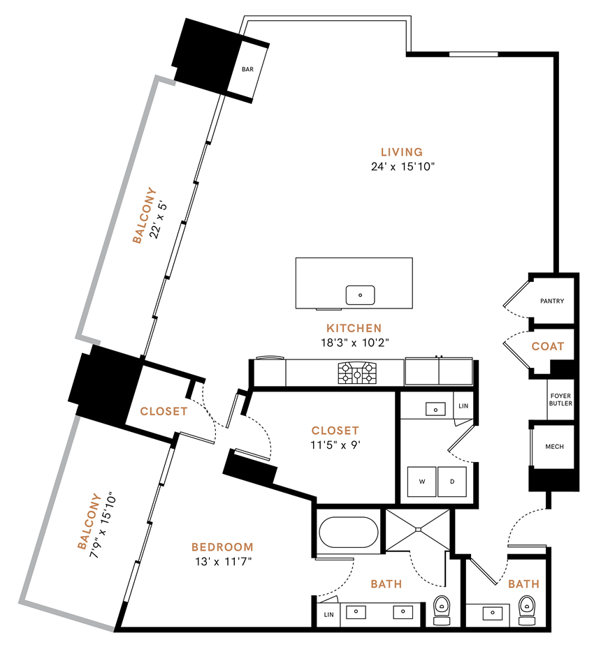 One bedroom one and half bathroom, Penthouse,  kitchen, kitchen pantry, living room, dining room, laundry room, one closet, PH3 floor plan, 1567 square feet