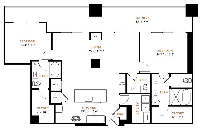Two bedroom, two and half bathroom, Penthouse,  kitchen, kitchen pantry, living room, dining room, laundry room, one closet, PH5 floor plan, 1590 square feet