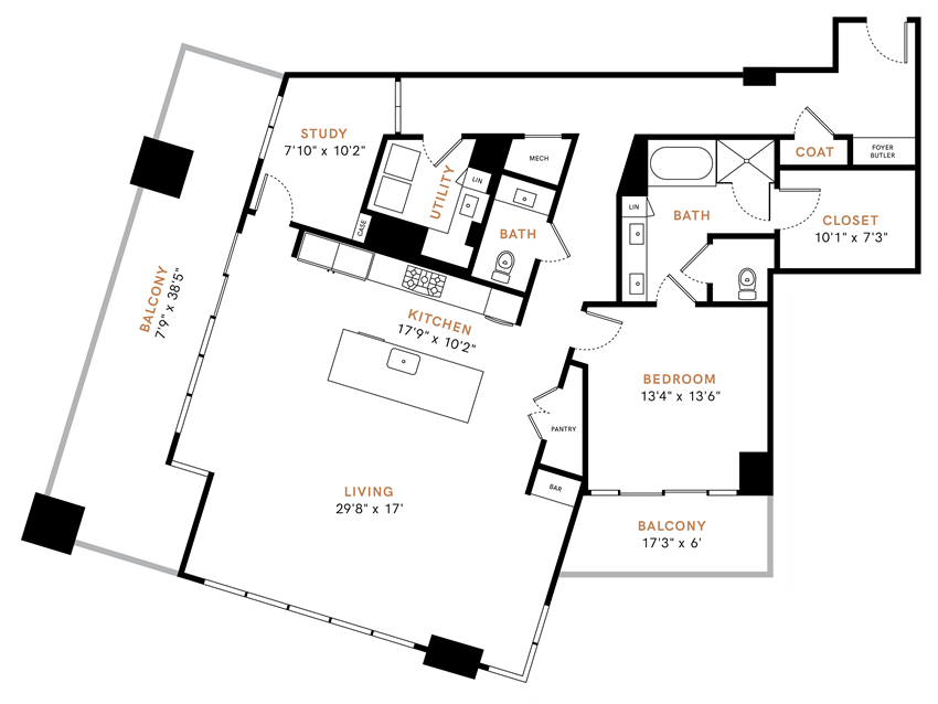One bedroom, One and half bathroom, Penthouse,  kitchen, kitchen pantry, living room, dining room, laundry room, closets, PH7 floor plan, 1800 square feet